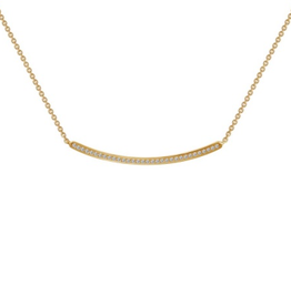 Lafonn Curved Bar Necklace CZ Sterling Silver Yellow