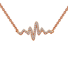Lafonn Lafonn Heart Beat Sterling Silver Necklace Plated Rose Gold with Simulated Diamonds
