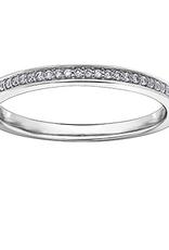 10K White Gold (0.08ct) Pavee Set Diamond Stackable Matching Wedding Band