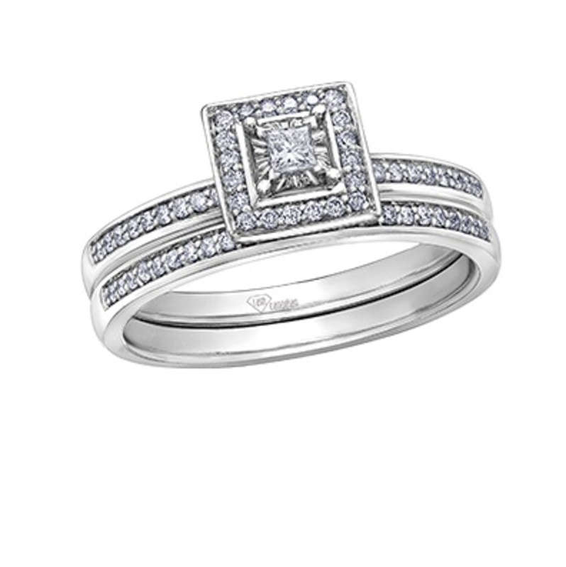 10K White Gold (0.08ct) Diamond Stackable Pavee Wedding Band