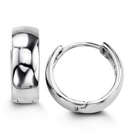 Sterling Silver High Polished Huggie Hoop Earrings 14mm