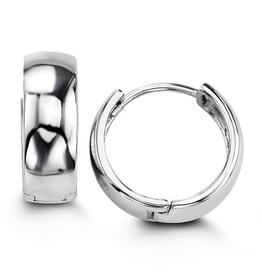 Sterling Silver Huggie Hoop Earrings 14mm