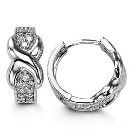 Sterling Silver Infinity CZ Huggie Hoop Earrings 14mm