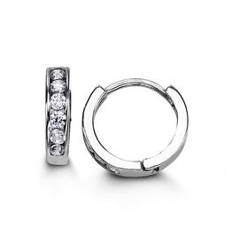 Sterling Silver CZ Huggie Earrings (13mm)