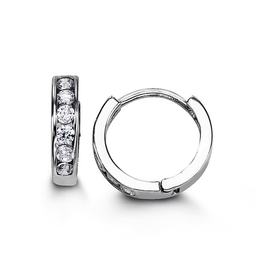 Sterling Silver CZ Huggie Hoop Earrings 11mm