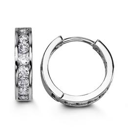 Sterling Silver CZ Huggie Earrings 15mm