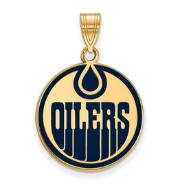 NHL Licensed Edmonton Oilers Sterling Silver GP Pendant (18mm)