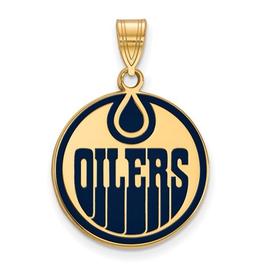 NHL Licensed NHL Licensed (Large) Edmonton Oilers Sterling Silver GP Enamel Pendant