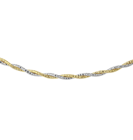Silver and Gold Plated Spring Omega Diamond Cut Necklace