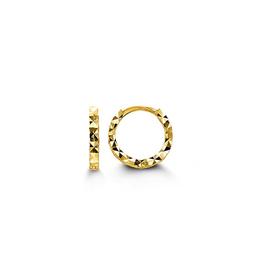 Yellow Gold Diamond Cut Baby Huggie Earrings
