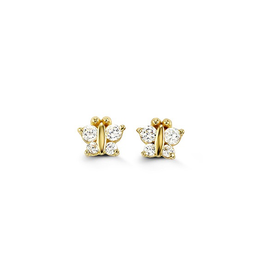 14K Yellow Gold Butterfly CZ Baby Earrings