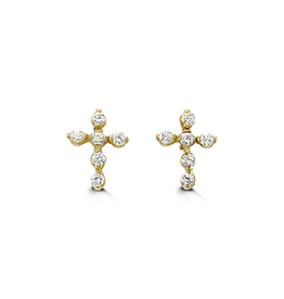 Yellow Gold Cross Cubic Zirconia Baby Earrings
