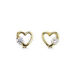 14K Yellow Gold CZ Heart Baby Earrings