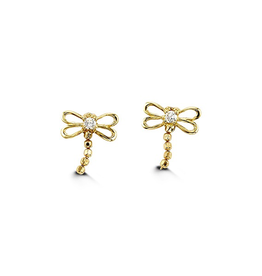 Yellow Gold Dragonfly Baby Earrings