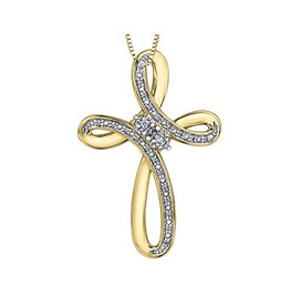 Cross Pendant (0.10ct) Yellow Gold