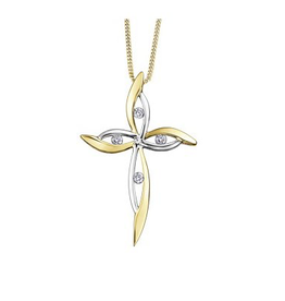 Cross Diamond (0.08ct) Two Tone Pendant