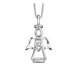Guardian Angel (0.01ct) Diamond White Gold Pendant