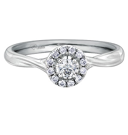 I am Canadian 10K White Gold Halo (0.20ct) Canadian Diamond Engagement Ring
