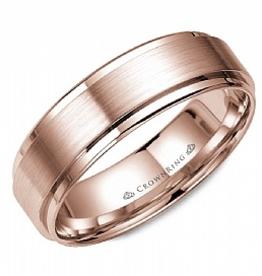 Crown Ring Crown Ring Rose Gold Beveled Flat 6mm Men's Wedding Band