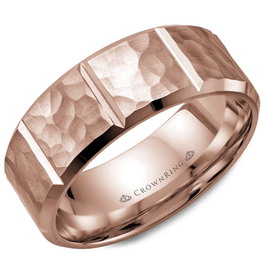 Crown Ring Crown Ring Rose Gold Hammered 8mm Men's Wedding Band