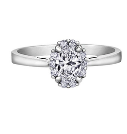 14K White Gold (0.60ct) Oval Shaped Diamond Halo Engagement Ring