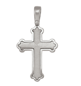 Sterling Silver (20mm) Fancy Brushed and High Polished Cross Pendant