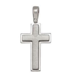 Sterling Silver Brushed and High Polished Cross Pendant