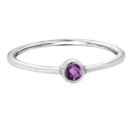 White Gold Bezel Amethyst Band