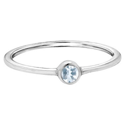 White Gold Bezel Aquamarine Ring
