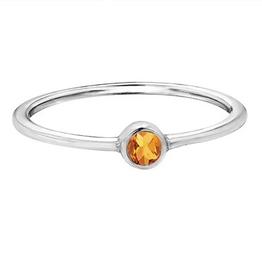White Gold Bezel Citrine Ring