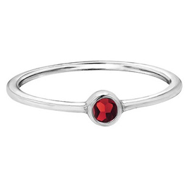 White Gold Bezel Garnet Ring