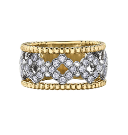 Sphere Yellow and White Gold Diamond Ring
