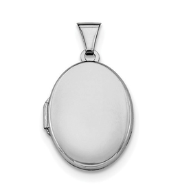Silver Rhodium Plated Plain Oval Locket