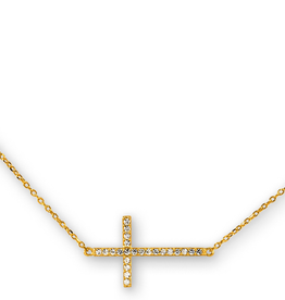Sideway Cross CZ Sterling Silver Yellow Gold Plated Necklace