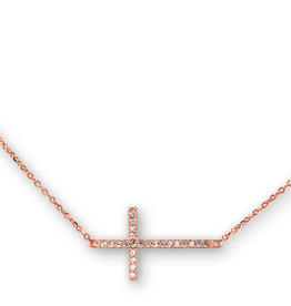 Sideway Cross CZ Sterling Silver Rose Gold Plated Necklace