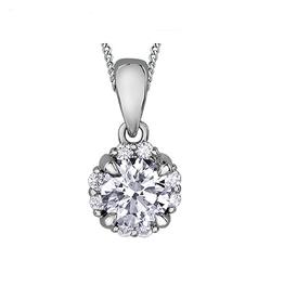 I am Canadian 10K White Gold (0.20ct) Canadian Diamond Cluster Halo Pendant