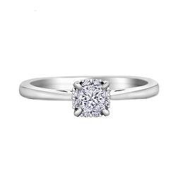 I am Canadian 14K White Gold (0.35ct) Princess Cut Canadian Diamond Halo Engagement Ring