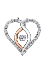I am Canadian 10K White and Rose Gold (0.25ct) Canadian Dancing Diamond Heart Pendant