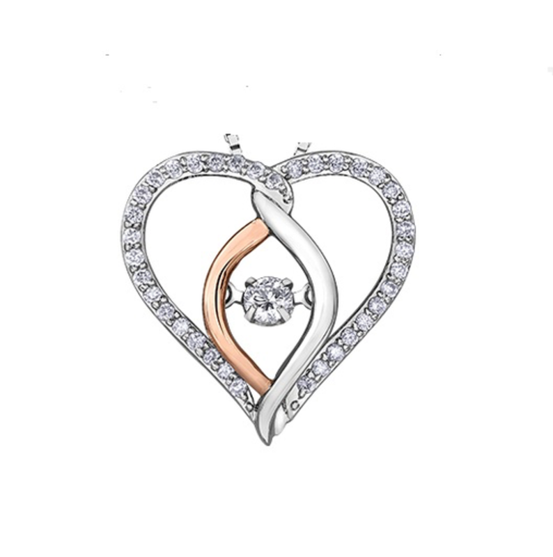 I am Canadian 10K White & Rose Gold (0.25cttw) Canadian Dancing Diamond Pendant