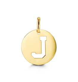Yellow Gold Initial J Charm Pendant