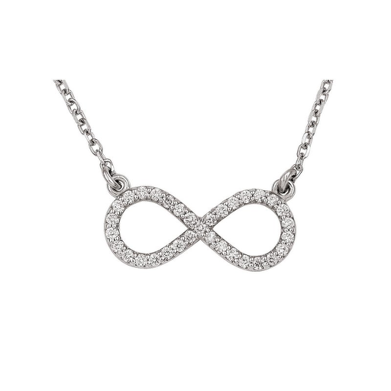Infinity Necklace (0.16ct) 10K White Gold