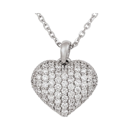 Puffed Heart Necklace (0.58ct) 14K White Gold