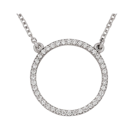 14K White Gold (0.20ct) Diamond Circle Necklace