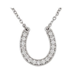 Horse Shoe Necklace (0.25ct) 14K White Gold