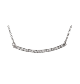 14K White Gold Diamond Curved Bar Necklace  (0.12cttw)