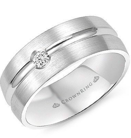 Crown Ring 8mm White Gold Mens Diamond Band with Ridge (0.10ct)