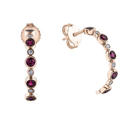 Rose Gold Pink Sapphire Diamond Earrings