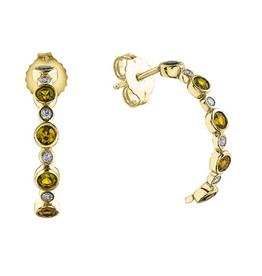 Yellow Gold Yellow Sapphire Diamond Earrings