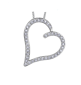 White Gold (0.25ct) Diamond Heart Pendant