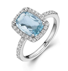 Lafonn Lafonn Checkerboard-cut  Blue Topaz Halo Sterling Silver Simulated Diamond Ladies Ring